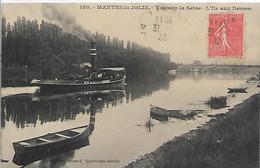 78,Yvelines, MANTES-la-JOLIE, Vue Sur La Seine,L'Ile Aux Dames, Péniche Et Barques, Scan Recto-Verso - Mantes La Jolie