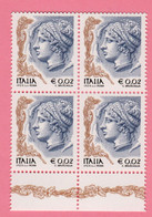 2003 ITALIA  Donna Donne Nell'arte 0,02 € • Quartina MNH Nuovo - 2001-10: Mint/hinged