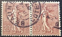 131 ° 6 Côte D'Or Beaune Paire Semeuse 20 C Brun Lilas 18/4/1907 Oblitéré - 1877-1920: Periodo Semi Moderne
