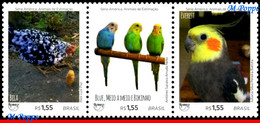 Ref. BR-V2018-09-5 BRAZIL 2018 ANIMALS, FAUNA, PETS, UPAEP, AMERICA, SERIES, BIRDS, CHICKEN, SET MNH 3V - Songbirds & Tree Dwellers