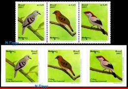 Ref. BR-V2017-04-3 BRAZIL 2017 - BRAZILIAN BIRDS,BIRDPEX 8, , ENDANGERED, SET AND SELF-ADHESIVE MNH, BIRDS 6V - Songbirds & Tree Dwellers