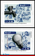 Ref. BR-V2016-07 BRAZIL 2016 ENVIRONMENT, CONSCIOUS CONSUMPTION OF, WATER AND ELECTRICITY, SET MNH 2V - Protection De L'environnement & Climat