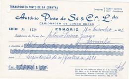 PORTUGAL - COMMERCIAL DOCUMENT - INVOICE . TRANSPORTATION - TRANSPORT - PINTO DE SÁ - ESMORIZ - Portugal