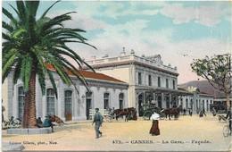 06 CPA CANNES LA GARE FACADE COULEUR - Cannes