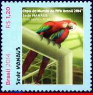 Ref. BR-3265F BRAZIL 2014 FOOTBALL SOCCER, WORLD CUP CHAMPIONSHIP,, MANAUS, PARROT, BIRDS, MNH 1V Sc# 3265F - Parrots