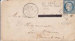 Yvert  60C  Type II  GC 4033 Trouville/Mer Pour   LSC  1875 Fragment - 1849-1876: Classic Period