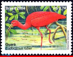 Ref. BR-2921 BRAZIL 2004 ANIMALS, FAUNA, MANED, BIRDS,, MI# 3354, MNH 1V Sc# 2921 - Storks & Long-legged Wading Birds