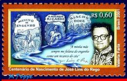 Ref. BR-2798 BRAZIL 2001 AUTHORS, JOSE LINS DO REGO,, WHITER, FAMOUS PEOPLE, MI# 3149, MNH 1V Sc# 2798 - Escritores