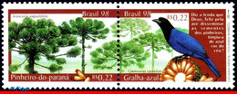 Ref. BR-2678A BRAZIL 1998 BIRDS, NATURE, FLORA AND FAUNA,, TREES, MI# 2875-76, SET MNH 2V Sc# 2677-2678 - Songbirds & Tree Dwellers