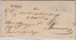 Preussen - Breslau 7/10 (1853) Ra2 Paketbegleitbrief N. Spremberg - Prusse