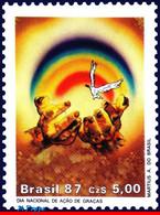 Ref. BR-2116 BRAZIL 1987 RELIGION, THANKSGIVING, BIRD, DOVE, MNH 1V Sc# 2116 - Columbiformes