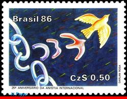 Ref. BR-2047 BRAZIL 1986 - AMNESTY INTL., 25TH, ANNIV., MNH, BIRDS 1V Sc# 2047 - Unused Stamps