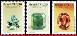 Ref. BR-1537-39 BRAZIL 1977 - PRECIOUS STONES,, PORTUCALE 77, MI# 1629-31, SET MNH, GEOLOGY 3V Sc# 1537-1539 - Nuevos