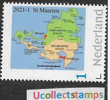 Nederland  2021-1  Caribisch Nederland St Maarten  Landkaart Map      Postsfris/neuf/mnh - Neufs