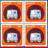 Ref. BR-1476-Q BRAZIL 1976 RAILWAYS, TRAINS, SAO PAULO SUBWAY, TRAIN, IN TUNNEL, MI# 1561, BLOCK MNH 4V Sc# 1476 - Hojas Bloque