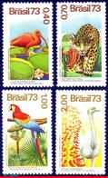 Ref. BR-1328-31 BRAZIL 1973 ANIMALS, FAUNA, FLORA, PARROT, CAT,, MANED,BIRDS,PLANTS,MI#1415-18,MNH 4V Sc# 1329-1331 - Parrots