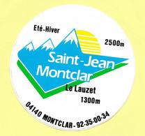 AUTOCOLLANT STICKER - SAINT-JEAN MONTCLAR - ÉTÉ HIVER 2500 M - LE LAUZET 1300 M - MONTAGNE - SPORTS D'HIVER - Stickers