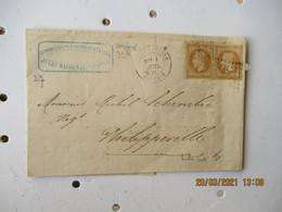 Constantine Gros Chiffre 5023 Obliteration Lettre Pour Phillippeville 2 Timbre Empire 15 C Marron - 1877-1920: Periodo Semi Moderno