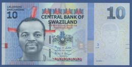 SWAZILAND - P.36 – 10 Emalangeni 2010 - UNC Prefix AA - Swaziland