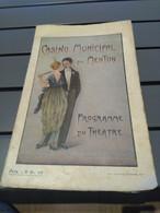 Programme Ancien De Théâtre Casino Municipal De Menton 1919 - Programmes
