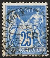YT 79 CaD Châteauroux Indre (35) 5.8.1877 (°) Obl SAGE 25c Bleu (type II Inv Sous U) France – Ciel - 1876-1898 Sage (Type II)