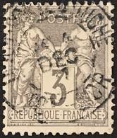 YT 87 CaD Dijon Porte D'Ouche Côte D'Or (20) (°) 1877-80 SAGE (type II) 3c Gris France – Kdomi - 1876-1898 Sage (Tipo II)