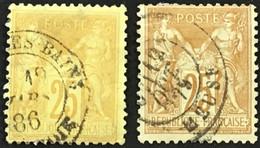 YT 92 Et 92a SAGE (type II Inv Sous U) 25c Bistre S Jaune 25c Jaune S Bistre Jaune (côte 11 Euros) – 3bleu - 1876-1898 Sage (Tipo II)