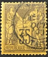 YT 93 1877-80 SAGE (type II) 35c Violet-noir S Jaune (côte 40 Euros) France – B2otti - 1876-1898 Sage (Tipo II)