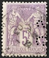 YT 95 TTB Perforé SG Société Générale (°) SAGE 1877-80 (type II) 5Fr Violet Sur Lilas (90 Euros) France – 6bleu - 1876-1898 Sage (Type II)