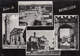RONCADE-TREVISO-SALUTI DA..4 VEDUTINE-CARTOLINA VERA FOTOGRAFIA- VIAGGIATA IL 13-2-1957 - Treviso