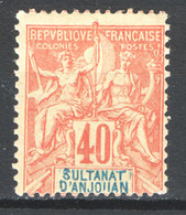 Anjouan 1892 Y.T.10 */MH VF/F - Unused Stamps