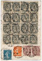 107 (bloc De 16) + 108 (paire) + 140 + 158 Sur Lettre De LILLE-GARE Du 22/12/1922 Vers ASCHAFFENBURG - 1921-1960: Moderne