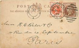 UK. CP P 7 (Mi) + TP 86 (Mi) Wellington/ Som. 860 > Paris 26/10/94  + Calais à Paris 2°   Trou D'archive  Repiquée - Postmark Collection