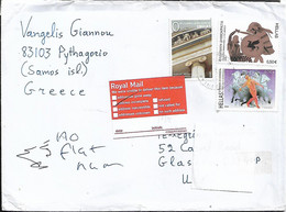 GREECE Cover Sent To Glasgow 3 Stamps RETURN TO SENDER COVER USED - Covers & Documents