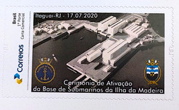 PB 172 Brazil Personalized Stamp Ilha Da Madeira Submarine Activation Base Ceremony Navy Military Ship 2020 - Personnalisés