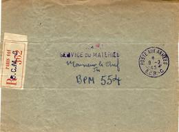 1945- Bande De Colisage RECC.  Cad  POSTE AUX ARMEES /  B.C.R. - C Pour Le B P M 554 - WW II