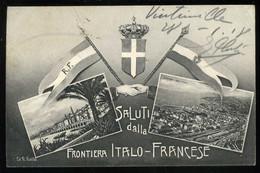 Saluti Dalla Frontiera Italo Francese Gallo Cachet Service Des Chemins De Fer Commissaire Militaire à Vintimille - Other Cities