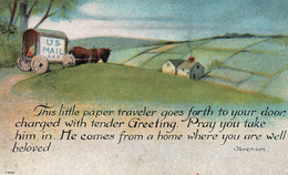 Courrier (Illustration) U.S. Mail R.F.O. This Little Paper Traveler Goes Forth To Your Door... (Robert Louis Stevenson) - Correos & Carteros