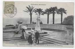 (RECTO / VERSO) MONTE CARLO EN 1905 - LES TERRASSES ET MONUMENT DE BERLIOZ - TIMBRE ET CACHET DE MONACO - CPA - Monte-Carlo