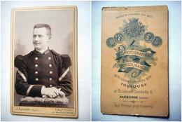 PHOTO CDV 19 EME MILITAIRE SOLDAT 100 SUR LE COL  Cabinet ALLARD A NARBONNE TOULOUSE - War, Military