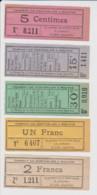 25 – BILLETS TRAIN - TRAMWAY PONTARLIER – MOUTHE – Lot De 5 Billets De La Ligne Du Tacot - Ferrovie