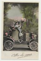 Carte Fantaisie Fille Dans Voiture Fleurs.....offre Du Coeur... - Passenger Cars