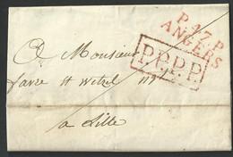 Paris , Maine Et Loire , Angers , Marque P . 47 . P . ANGERS Du 31 Mai 1817 , Passage Paris Avec Cachet P.P.P.P. Rouge - 1801-1848: Precursors XIX