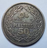 PIECE - REPUBLIQUE LIBANAISE - 50 QIRSHA/PIASTRES - 1952 - CEDRE - ARGENT 600° - Lebanon