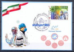 2020 - Maximum Card National Heroes Stamp , Corona , Covid 19 - Iran - Malattie