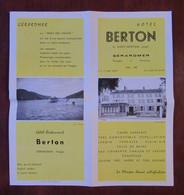 Gérardmer - Hotel-Restaurant Berton - G. Hory-Berton, Propriétaire - Photo Barin, Voirin, Rinck, Voiture, Auto - Dépliants Turistici