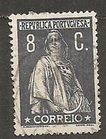 PORT - Yv. N°  214B Dent 15  (o)  8c Gris Cérès Papier Ordinaire  Cote 1,2 Euro BE - Usado