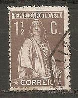 PORT - Yv. N°  209B Dent 15  (o)  1 1/2 C Brun-lilas Cérès Papier Ordinaire Cote 3 Euro BE - Usado