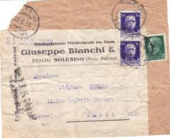 Devant D'envoi Herboristerie Médicinale Giuseppe Bianchi Solesino 22/8/1933 Pour Paris France Visa Douanier à L'arrivée - Storia Postale