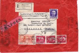 LR Exprès Bergamo 5/1/1937 Affranchie à 12 Lires Pour Toulouse France Double Visa Douanier - Posta Espresso